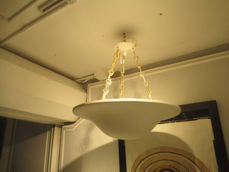 Custom Plaster Chandelier with Brass Chain In Excellent Condition For Sale In New York, NY