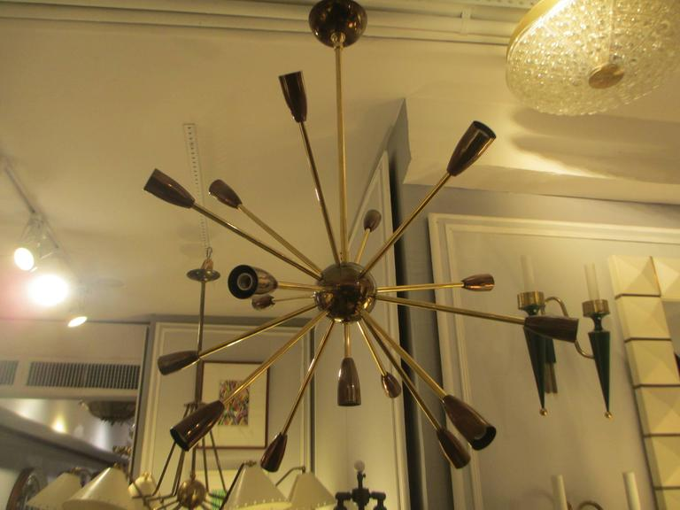 Custom Brass and Copper Sputnik Chandelier with 14 Arms In Excellent Condition For Sale In New York, NY