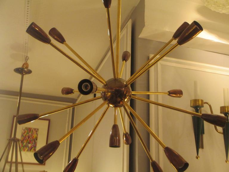 American Custom Brass and Copper Sputnik Chandelier with 14 Arms For Sale