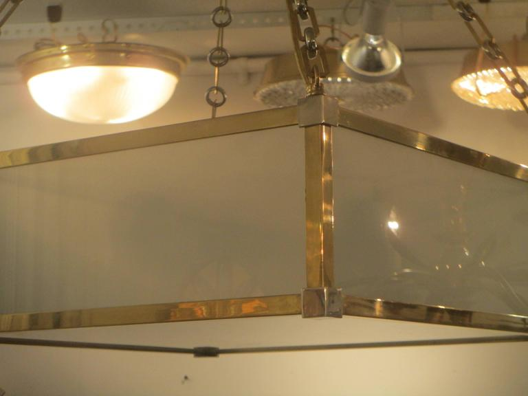 Custom Art Deco Style Nickel and Brass-Plated Pendant Fixture 3