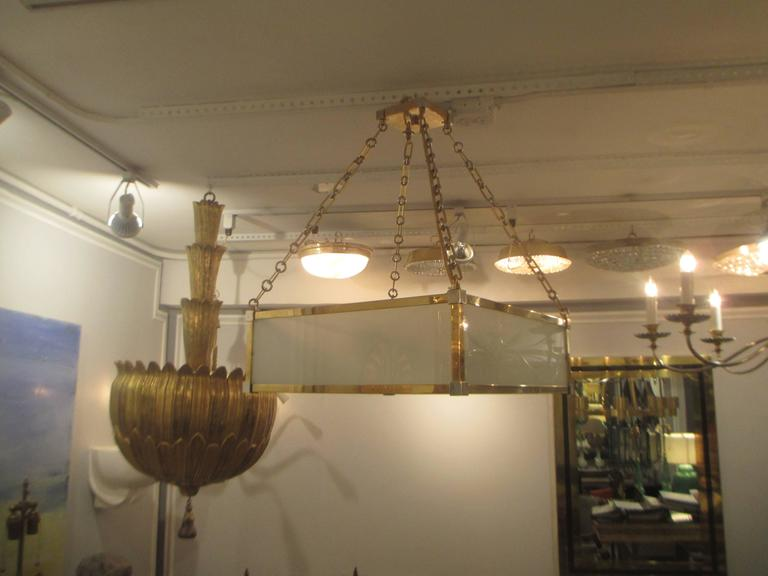 Custom Art Deco Style Nickel and Brass-Plated Pendant Fixture 2