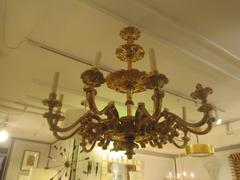 Custom Hand-Carved Giltwood 8-Arm Chandelier in the Baroque Manner