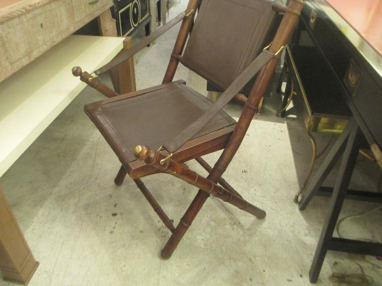 Faux Bamboo Campaign Folding Chairs, Folding Leather Campaign Chair