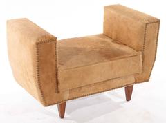 A Pair of Italian Hide Benches on Tapered Legs