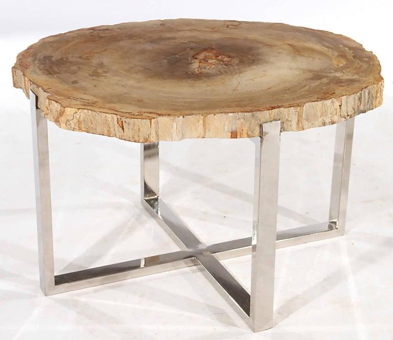 Pair of Petrified Wood Side Tables on Chrome Bases 2