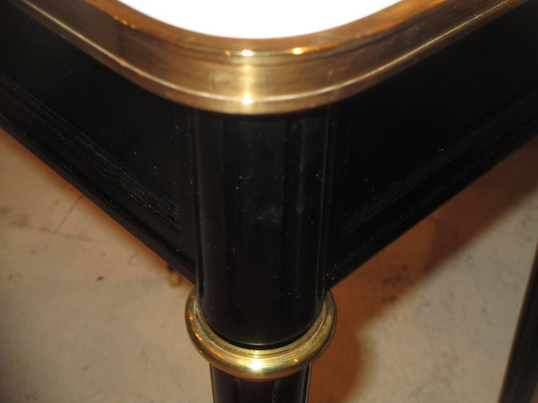 Pair of Ebonized Jansen Marble Top End Tables In The Louis XVI Manner 5