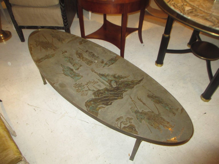 APhilip and Kelvin LaVerne signed patinated bronze oblong coffee table.