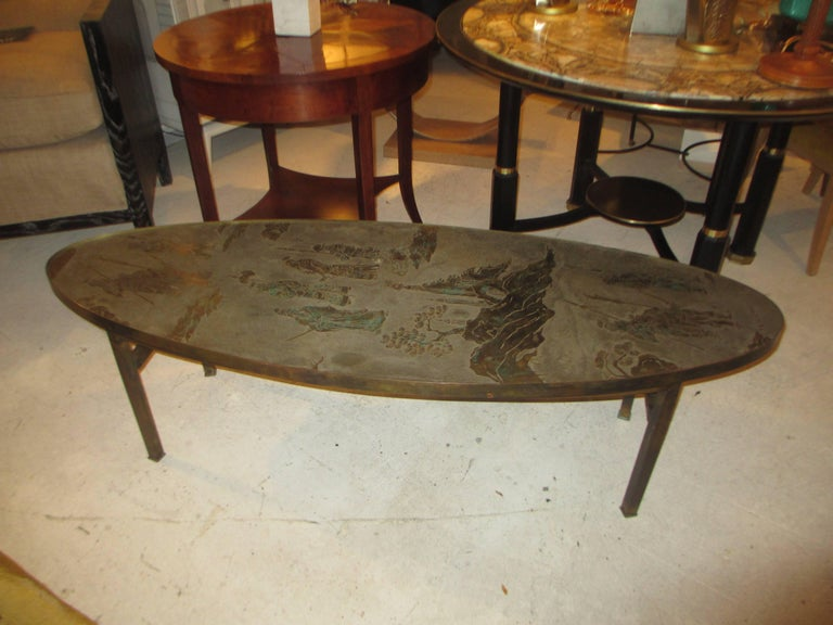 American Philip and Kelvin LaVerne Signed Patinated Bronze Oblong Coffee Table For Sale