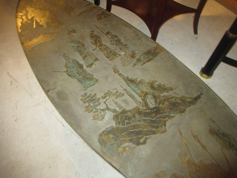 Philip and Kelvin LaVerne Signed Patinated Bronze Oblong Coffee Table In Excellent Condition For Sale In New York, NY