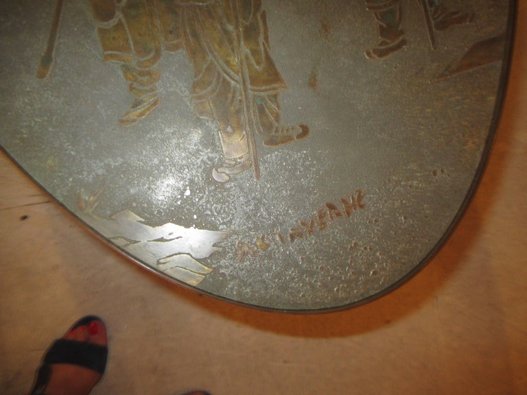 Etched Philip and Kelvin LaVerne Signed Patinated Bronze Oblong Coffee Table For Sale
