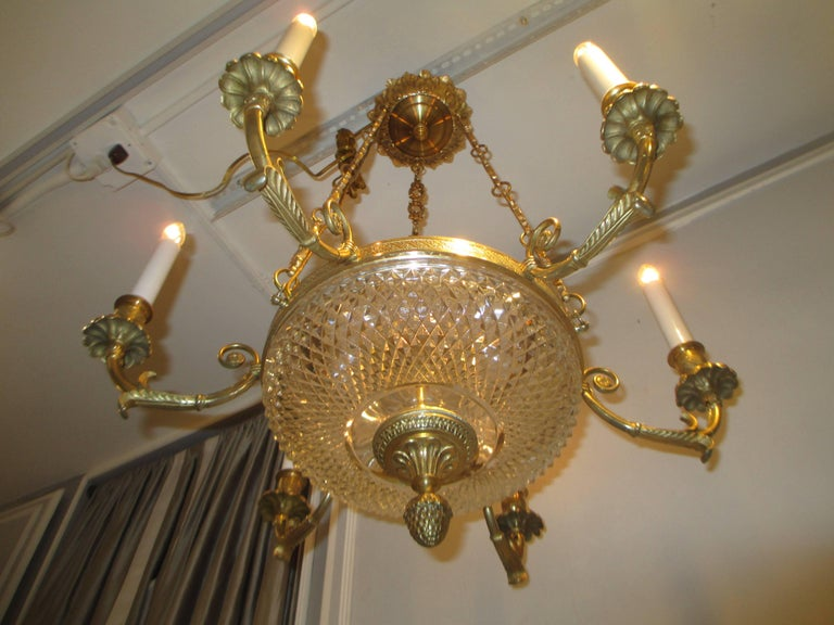 Italian Empire-Style Bronze and Crystal Chandelier with Four Arms For Sale