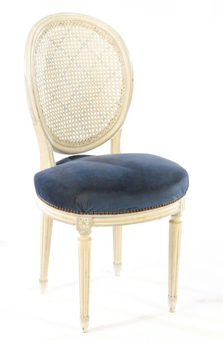 French Set of Eight Painted Balloon Back Dining Chairs in the Louis XVI Style For Sale