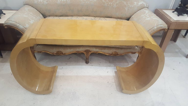 American Sculptural Lacquered Console Table in the Karl Springer Manner For Sale