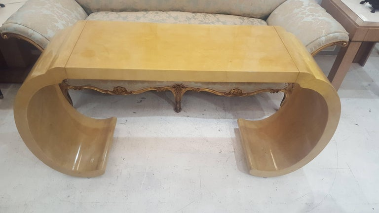 Sculptural lacquered console table in the Karl Springer Manner.