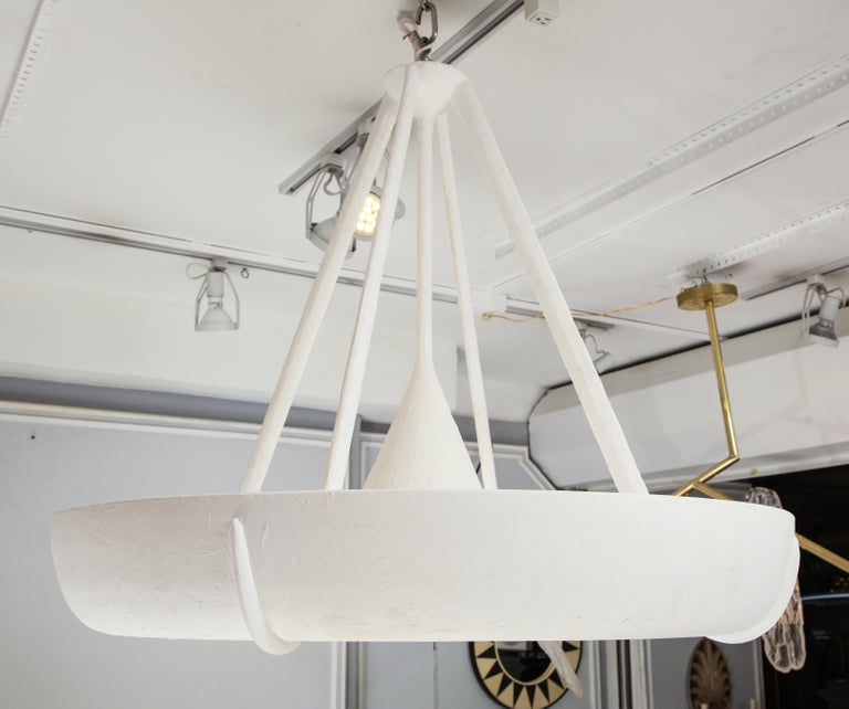 Contemporary Sculptural Bespoke Plaster Fixture in the Jean Michel Frank Manner For Sale