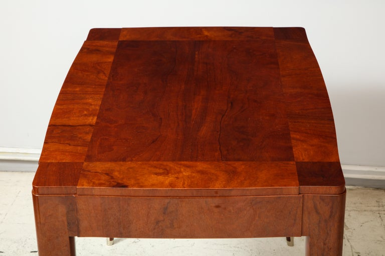 Walnut Bespoke Table in the Manner of Jules Leleu For Sale
