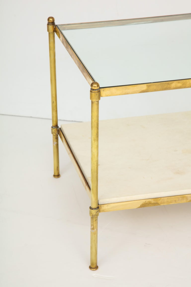 Pair of Brass and Parchment Tables with Glass Tops In Good Condition For Sale In New York, NY