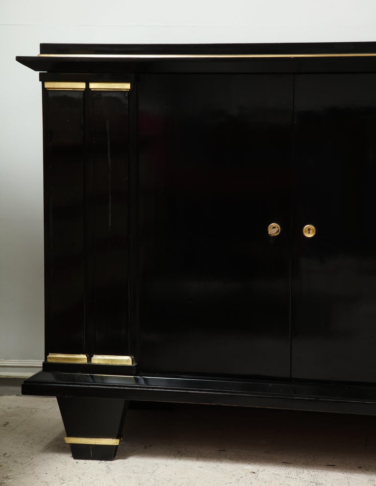 Ebonized Architectural Sideboard with Bronze Mounts In Excellent Condition For Sale In New York, NY