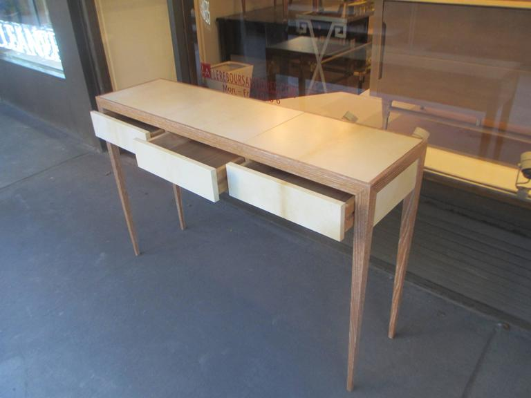 American Custom Cerused Oak and Parchment Console Table For Sale