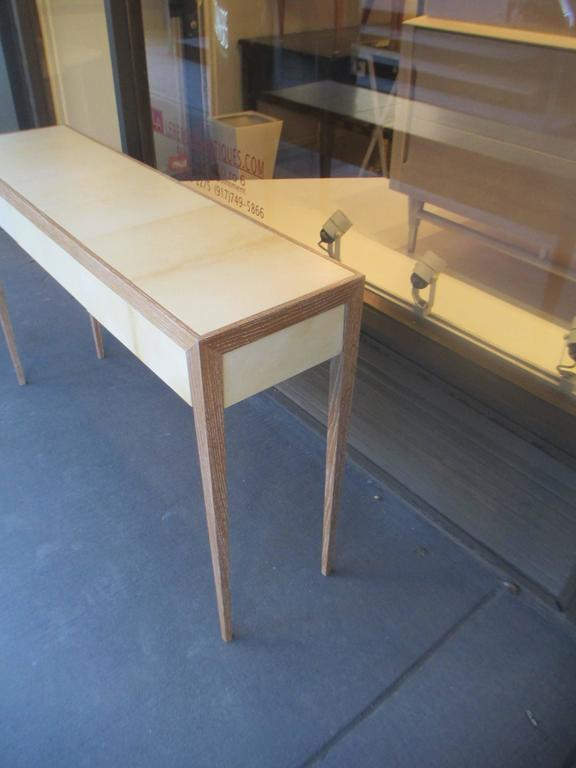 Custom Cerused Oak and Parchment Console Table For Sale 1