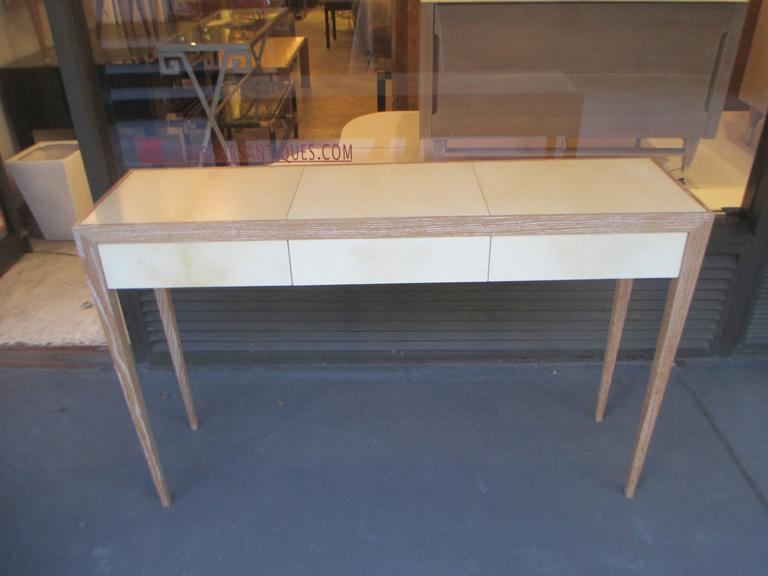 Custom Cerused Oak and Parchment Console Table For Sale 2