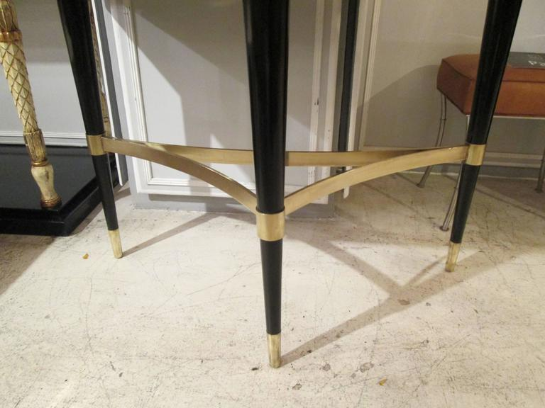 Pair of Sculptural Ebonized Consoles on Tripod Base with Bronze Stretchers In Excellent Condition For Sale In New York, NY