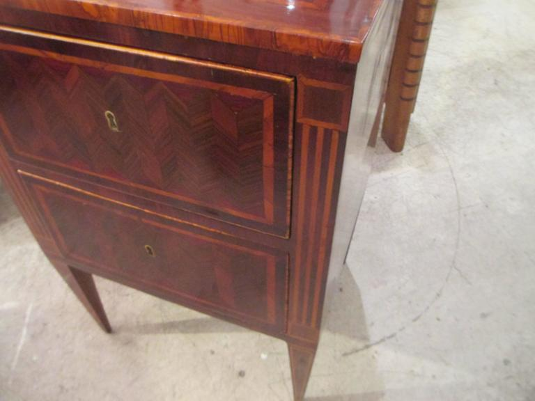 Fine Pair of Antique Italian Neoclassic Parquetry Nightstands 5