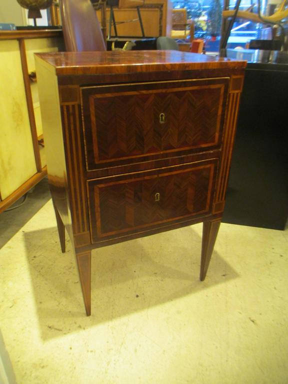 Fine Pair of Antique Italian Neoclassic Parquetry Nightstands 2