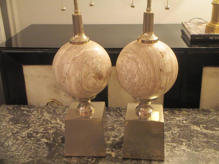 Sculptural Pair of Travertine Lamps on Chrome-Plated Plinth Bases 2