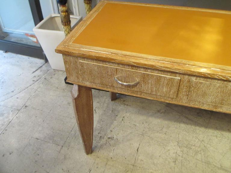 French 1940s Cerused-Oak Leather- Top Console/  Writing Desk For Sale 2