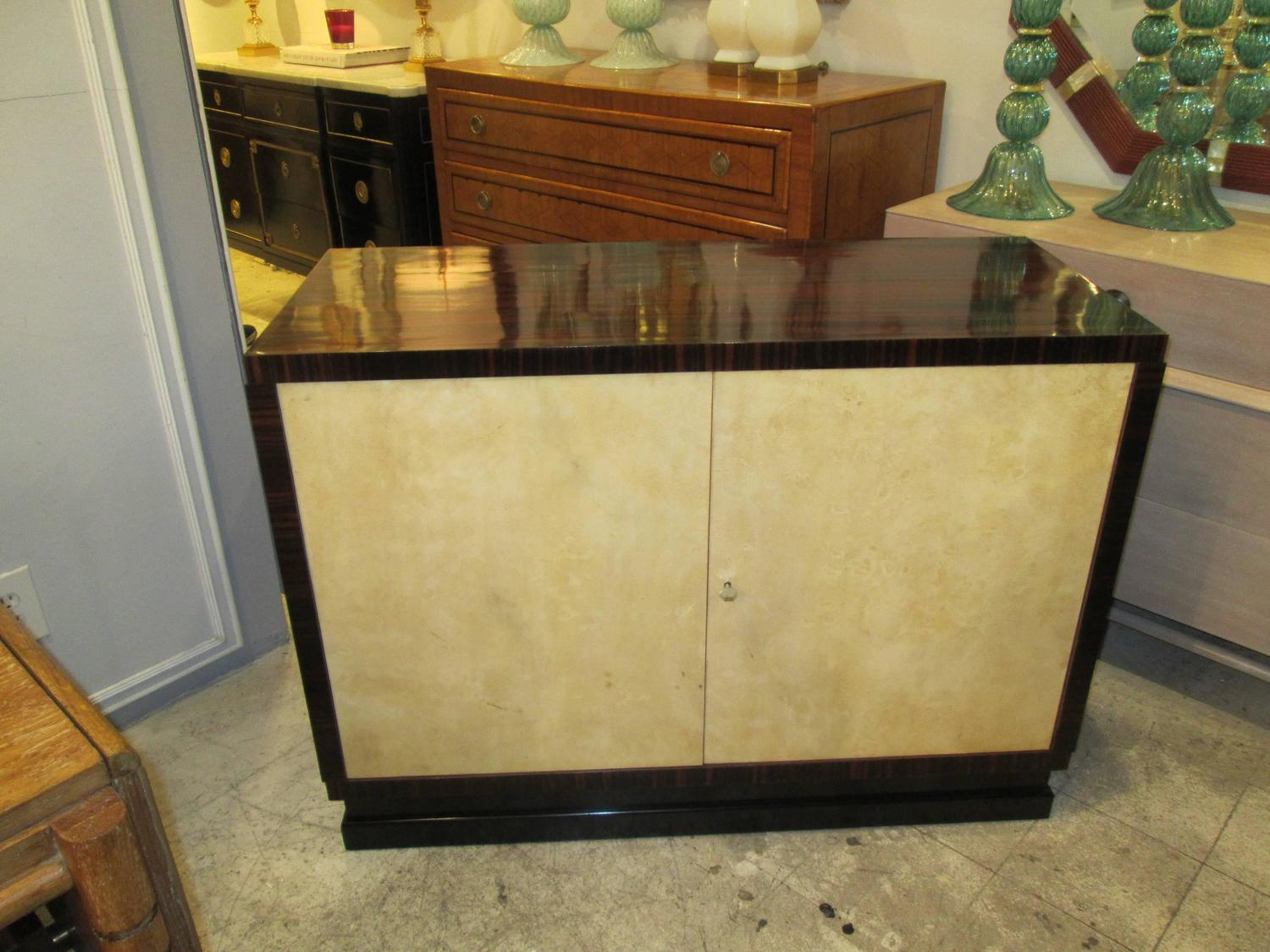 Italian 1940s 1950s parchment and macassar ebony cabinet for 1940s kitchen cabinets for sale
