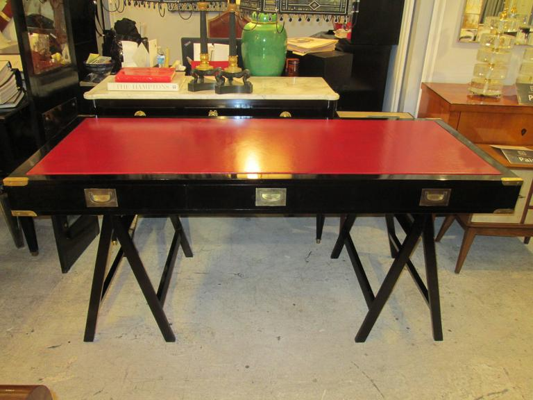French Ebonized Campaign Desk Red Leather Top And Applied Brass 2