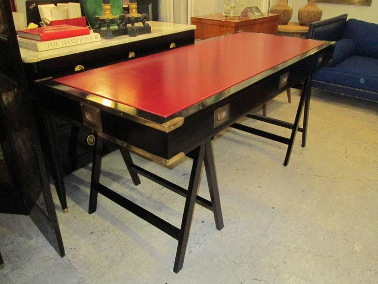 French Ebonized Campaign Desk Red Leather Top And Applied Brass 4