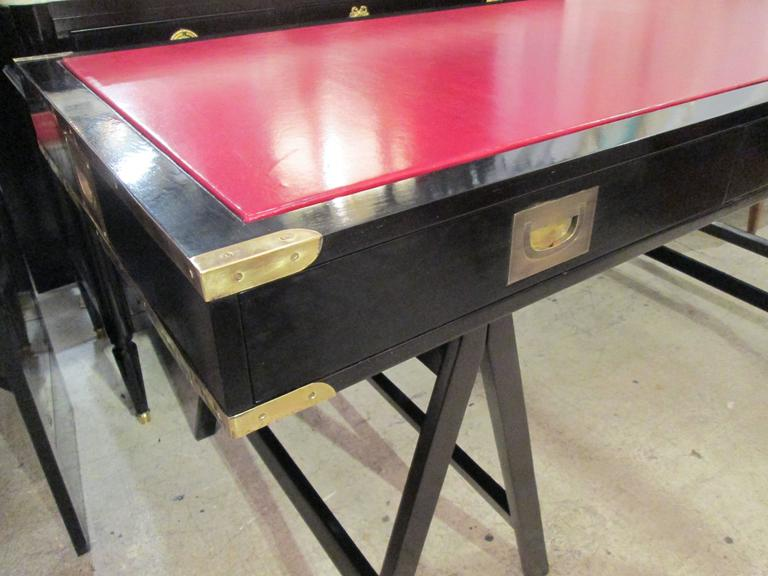 20th Century  French Ebonized Campaign Desk Red Leather Top And Applied Brass For Sale