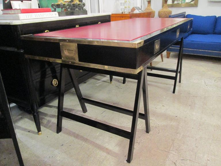 French Ebonized Campaign Desk Red Leather Top And Applied Brass 5
