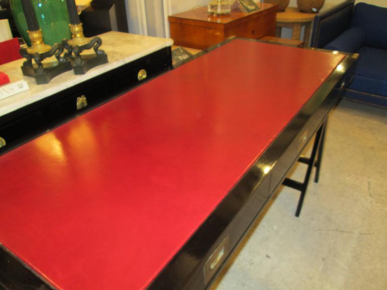 French Ebonized Campaign Desk Red Leather Top And Applied Brass 8