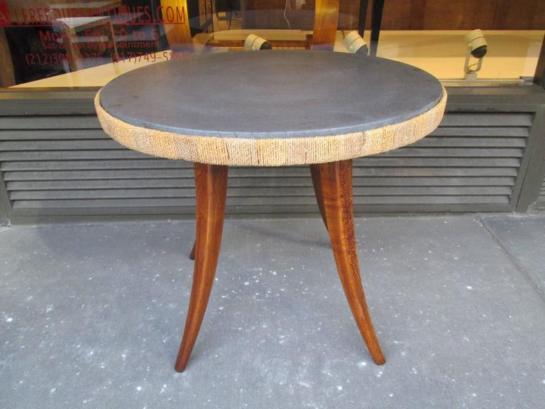 Unusual French 1940s Marble-Top Table with Jute Apron on Splayed Legs 2
