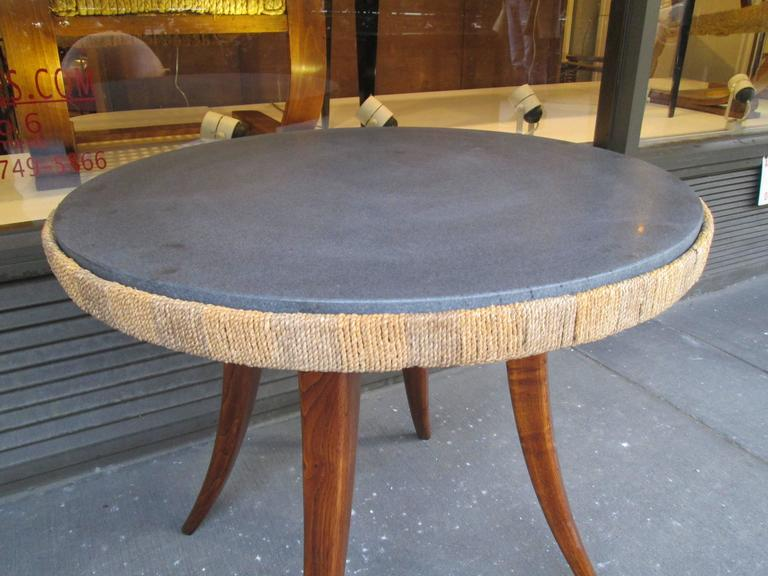 Unusual French 1940s Marble-Top Table with Jute Apron on Splayed Legs 3