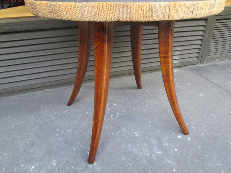 Unusual French 1940s Marble-Top Table with Jute Apron on Splayed Legs 4