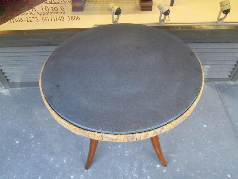 Unusual French 1940s Marble-Top Table with Jute Apron on Splayed Legs 5