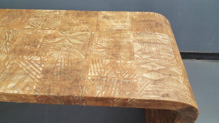 Unusual Hand-Stenciled  Bark Console Table 2