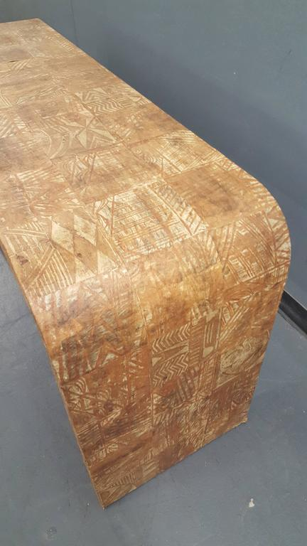 Unusual Hand-Stenciled  Bark Console Table 3