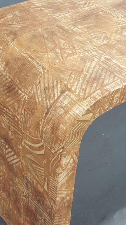 Unusual Hand-Stenciled  Bark Console Table 4
