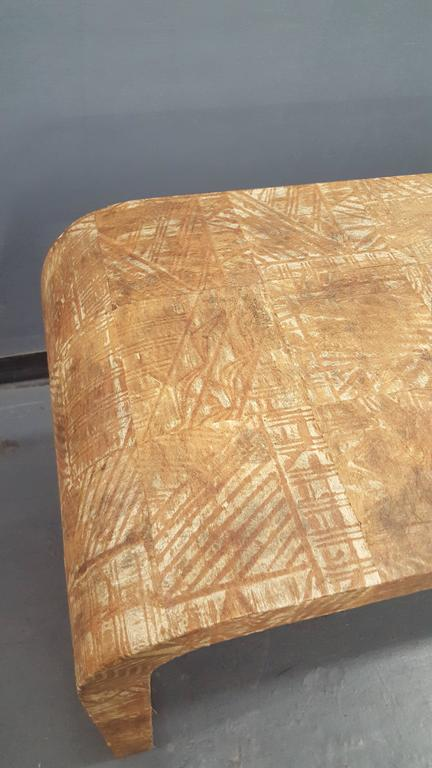 Unusual Hand-Stenciled  Bark Console Table 5