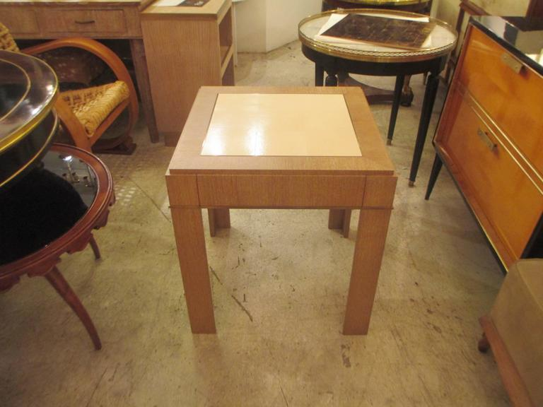 Modern Custom Cerused-Oak Side Table with Parchment Top For Sale