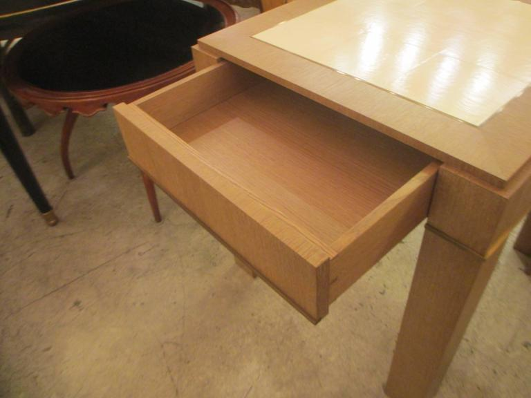 American Custom Cerused-Oak Side Table with Parchment Top For Sale