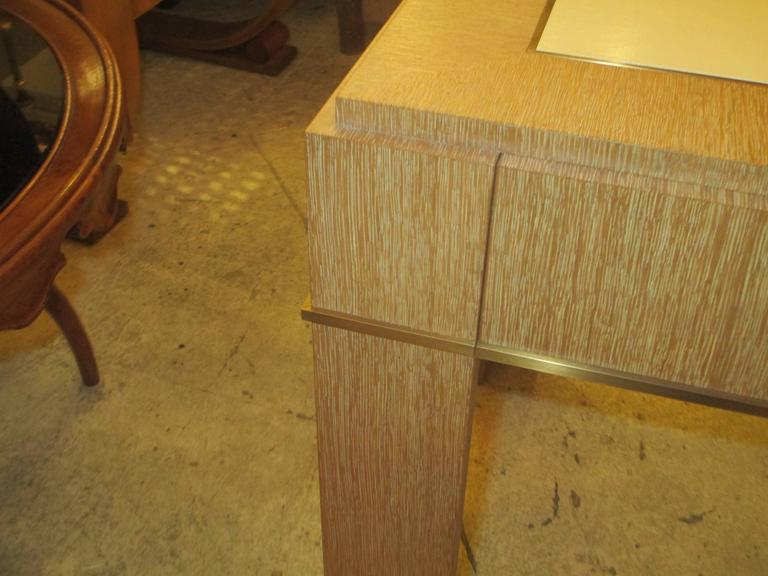 Custom Cerused-Oak Side Table with Parchment Top In Excellent Condition For Sale In New York, NY