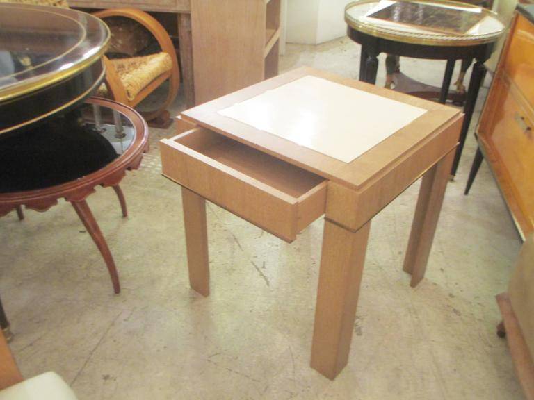 Contemporary Custom Cerused-Oak Side Table with Parchment Top For Sale