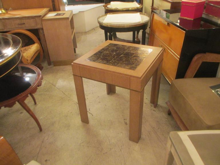 Goatskin Custom Cerused-Oak Side Table with Parchment Top For Sale