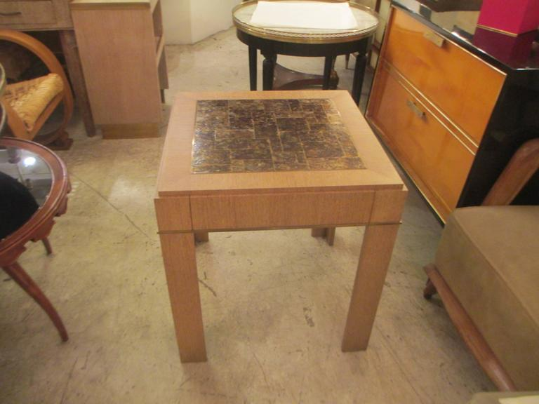 Custom Cerused-Oak Side Table with Parchment Top For Sale 1
